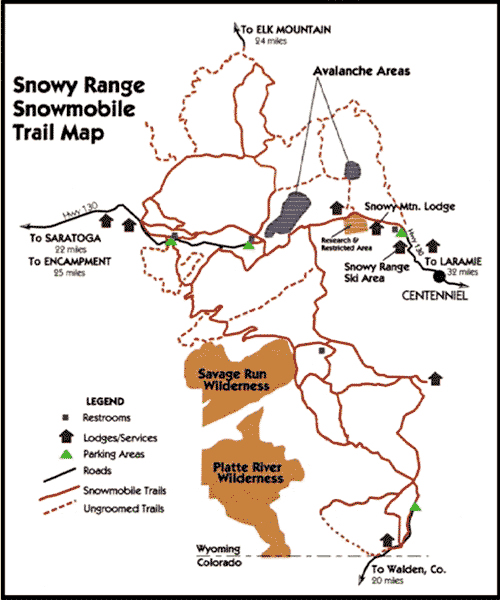 Snowy Range Snowmobile Trail Map
