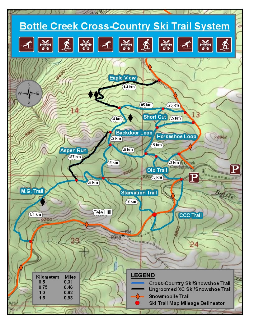 Bottle Creek Cross Country Ski Map