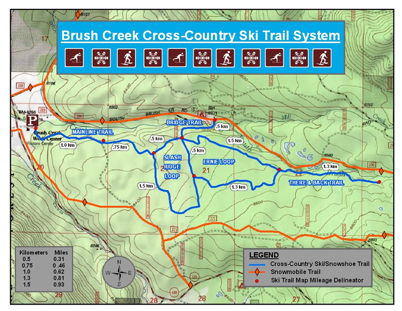 Brush Creek Cross Country Ski Map
